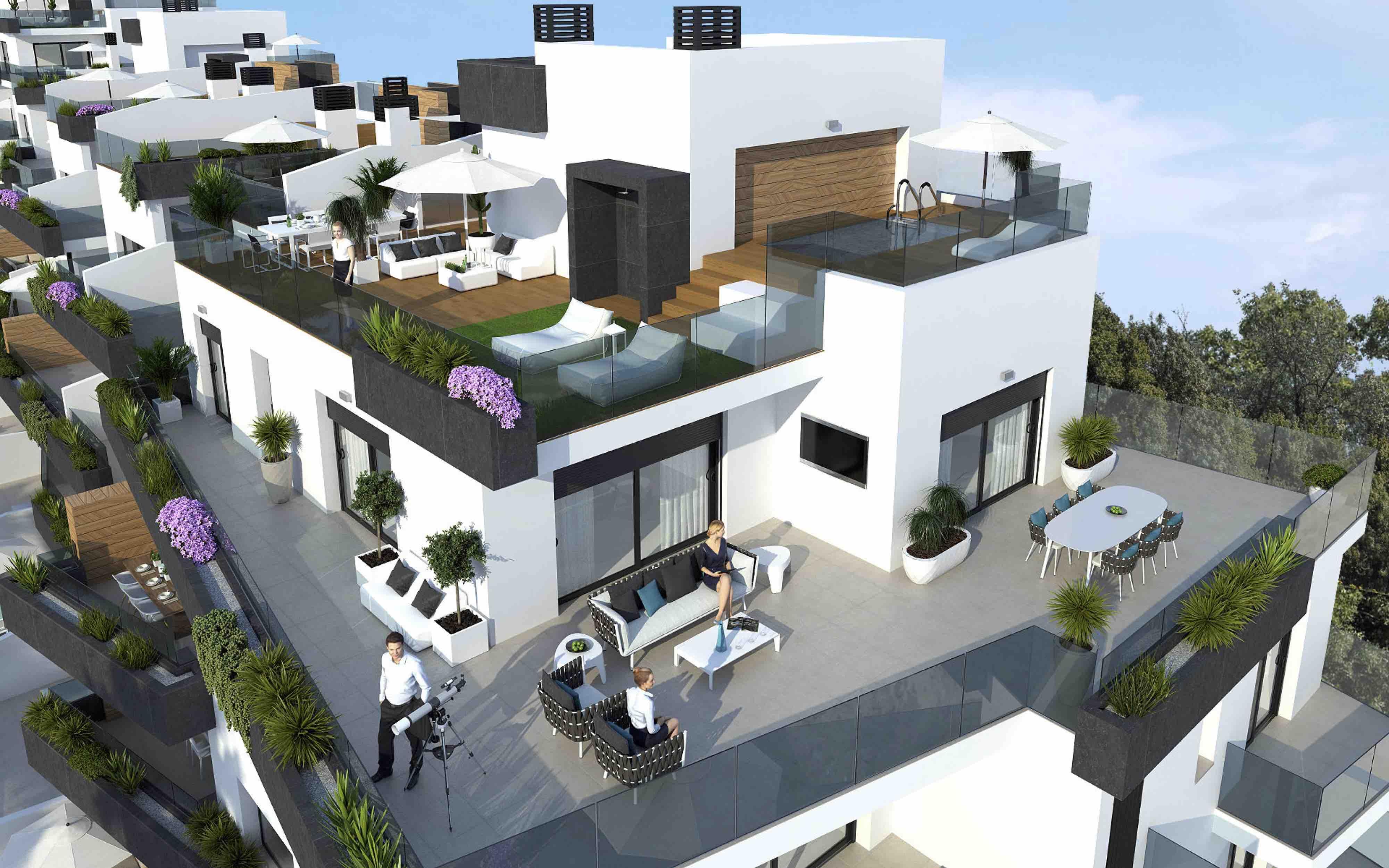 Penthouse met enorme terrassen en zwembad te koop costa blanca - Enorme terras ...